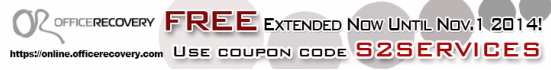 """S2SERVICES"" coupon notification banner for free recovery service from Recoveronix' Online FIle Repair"