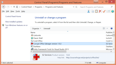Uninstall programs screen of Control Panel